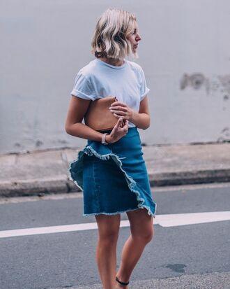 skirt ruffle skirt tumblr denim skirt denim ruffle mini skirt frayed denim t-shirt white t-shirt bag brown bag spring outfits