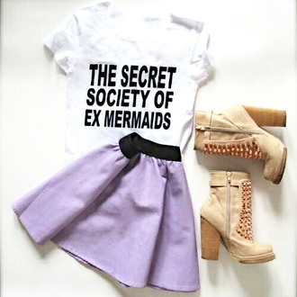 mermaid weheartit girly skirt purple heels boots quote on it funny outfit nice sassy shoes shirt