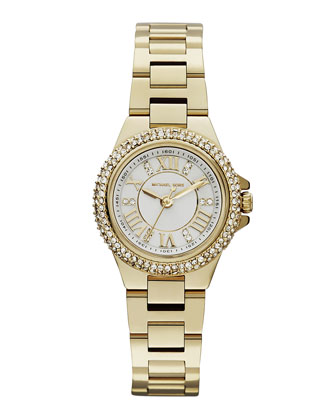 Michael Kors Mini Golden Stainless Steel Camille Three-Hand Glitz Watch - Michael Kors