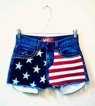 shorts fashion red white and blue rhinestones denim shorts