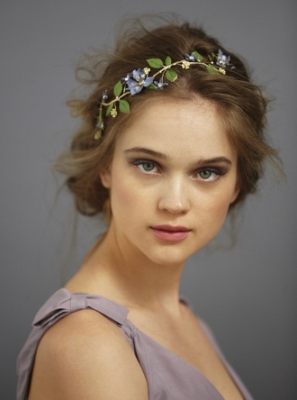 hair accessory headpiece headband hairstyles purple lavender flowers flower crown wedding accessories vintage romantic wedding hairstyles