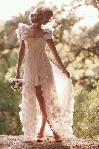 dress high low dress cream dress wedding dress boho chic boho dress