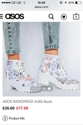 shoes,asos,floral boots,radiohead,chunky boots,chunky sole,boots,platform boots,platform sneakers
