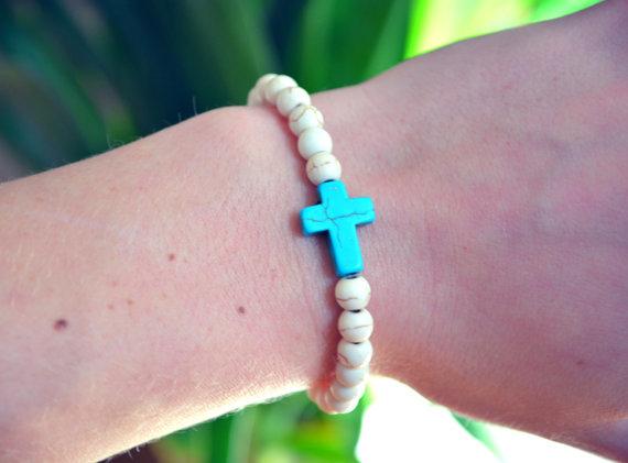 Cross bracelet turquoise cross arm candy stretchy bohemian boho bracelet stackable arm candy elastic cross bracelet beaded cross jewelry