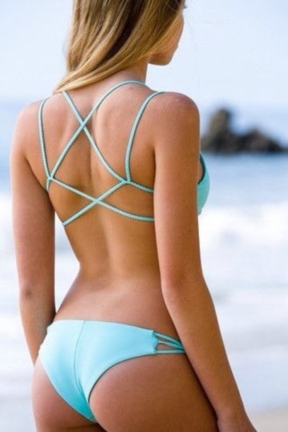 swimwear bikini blue swimwear