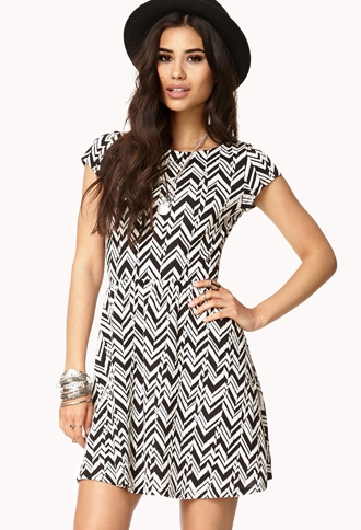 Chevron Fit & Flare Dress | FOREVER21 - 2000074494