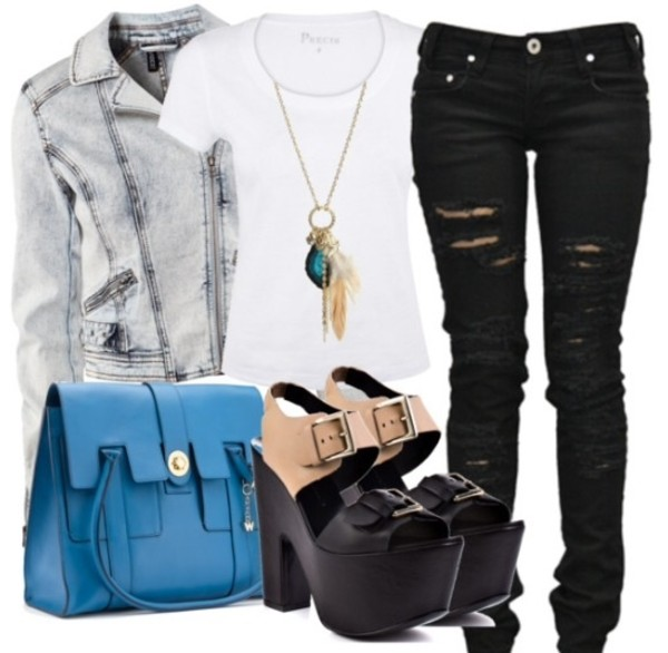 shoes top jeans ripped jeans necklace jacket bag