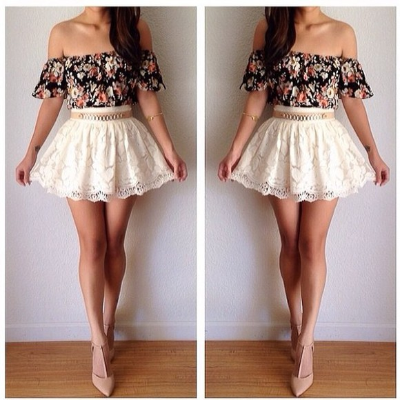 shirt off the shoulder skirt flowers