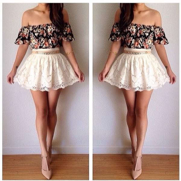 shirt off the shoulder skirt flowers