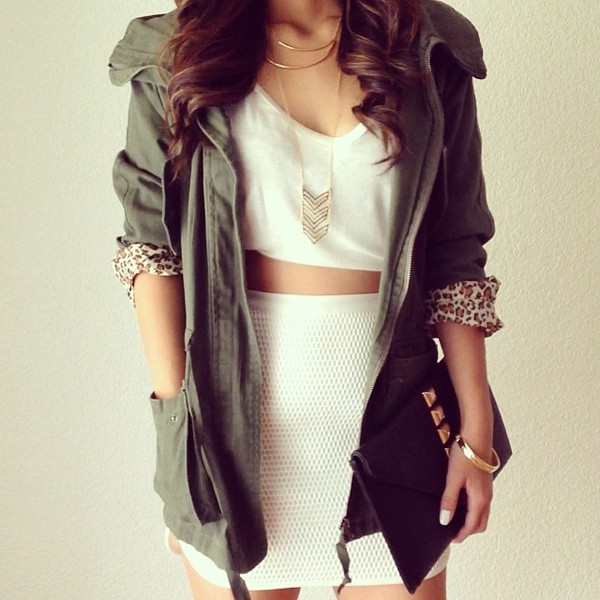 jacket summer army green army green jacket necklace accessories shirt white shirt skirt bag jewels coat green dress cardigan green jacket army green jacket