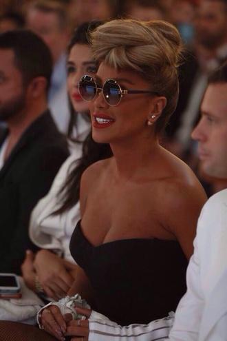 sunglasses round sunglasses maya diab blue sunglasses gold black summer 2014 trendy tan skin mirrored sunglasses