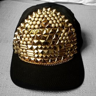 hat black gold spikes snapback hat