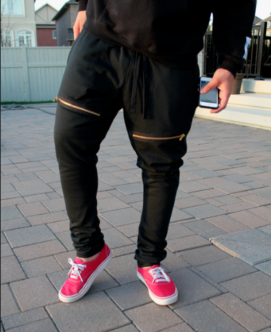 Skinny Sweatpants with Gold Zippers / Alex Sena Apparel
