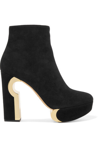 boots ankle boots suede black shoes