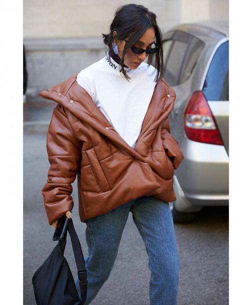 jacket tumblr streetwear puffer jacket brown jacket streetstyle top white top sunglasses