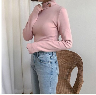 blouse girly pink high neck tumblr