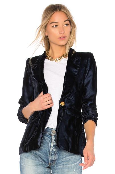 SMYTHE blazer velvet navy jacket