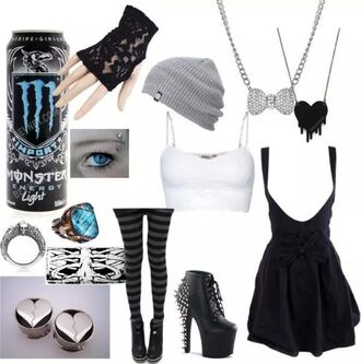 dress black skirt overalls cute beanie jewelry bag gloves tights stripes boots spikes bow