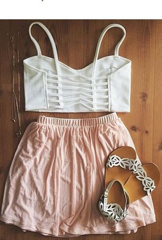 skirt pink pink skirt white pretty spring spring outfits summer summer outfits girly cute nice tank top