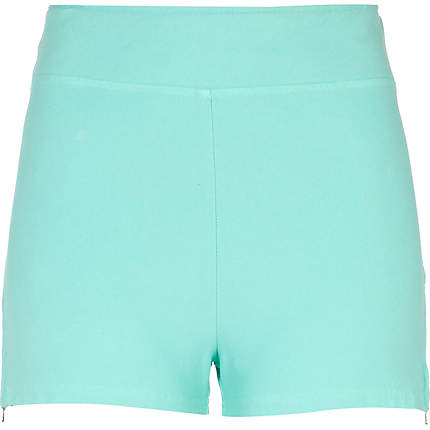Light turquoise side zip hotpants