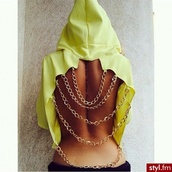 yellow,hoodie,gold chain,top,open back,sweater,clothes