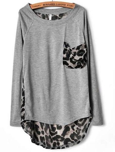 Grey Leopard Print Chiffon Loose Long-sleeved T-shirt on Luulla