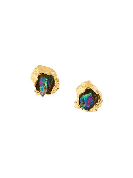 Niza Huang women earrings stud earrings gold silver grey metallic jewels