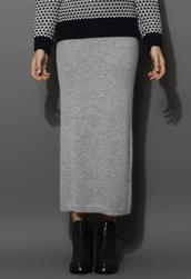 skirt,grey knitted,wool,pencil skirt
