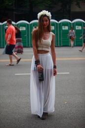 tank top,music festival,hippie,bohemian,white,cream,flowers,chiffon,maxi skirt,skirt slit,beautiful,brunette,flower crown,skirt,shirt,hat