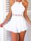 White hollow crochet flower waist backless spaghetti jumpsuits