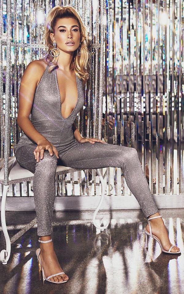 jumpsuit silver metallic sequins pants top new year dresses celebrity model hailey baldwin
