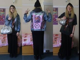 jacket denim 90s style 80s style indie grunge patch patchwork denim jacket