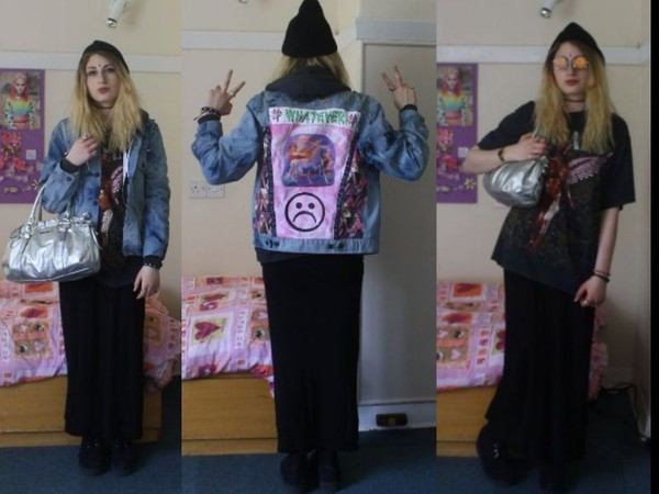 jacket denim 90s style 80s style indie grunge patch patch patchwork denim jacket