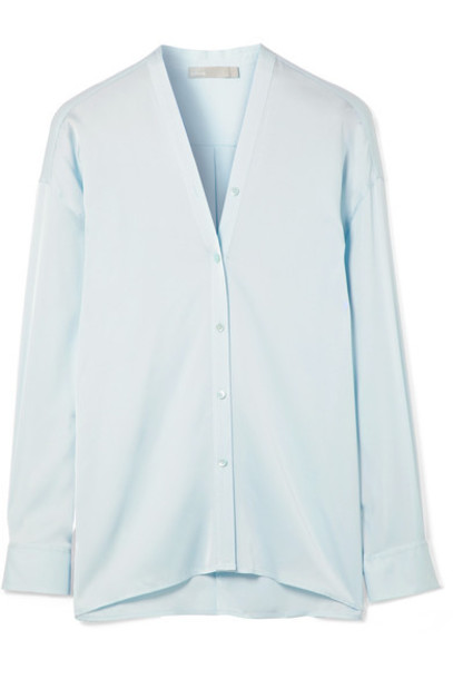 blouse blue silk satin sky blue top