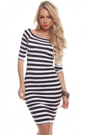 Off shoulder striped pencil dress