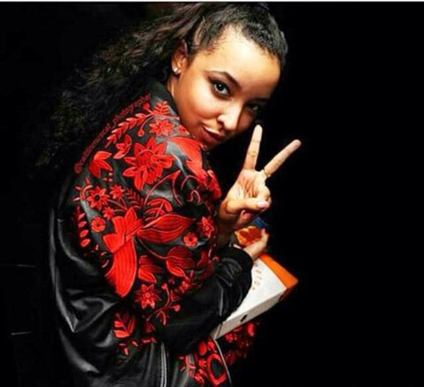 jacket black red tinashe flowers