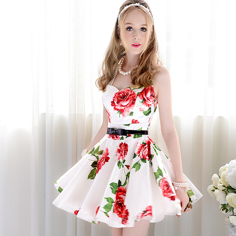 Womens White Sleeveless Bandeau Floral Tank Dress In Dresses