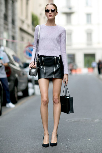 skirt sweater fashion week 2014 streetstyle leather skirt bag zip-up skirt mini skirt black skirt cropped sweater lilac sweater black leather skirt pumps pointed toe pumps black pumps high heel pumps sunglasses shoulder bag silver bag fall outfits