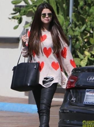 sweater selena gomez pants heart heart sweater
