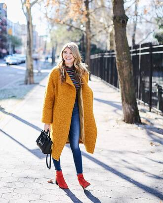 coat tumblr yellow yellow coat oversized denim jeans blue jeans skinny jeans boots red boots ankle boots turtleneck black