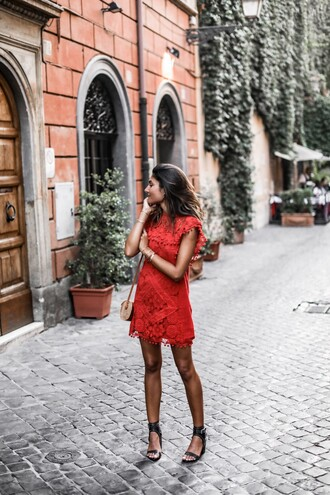 dress tumblr red dress red mini dress mini dress lace dress sandals sandal heels black sandals shoes