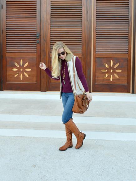 blogger leather bag bag fash boulevard jacket jeans jewels necklace brown leather boots jumper