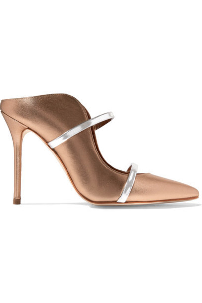 MALONE SOULIERS metallic mules gold leather shoes