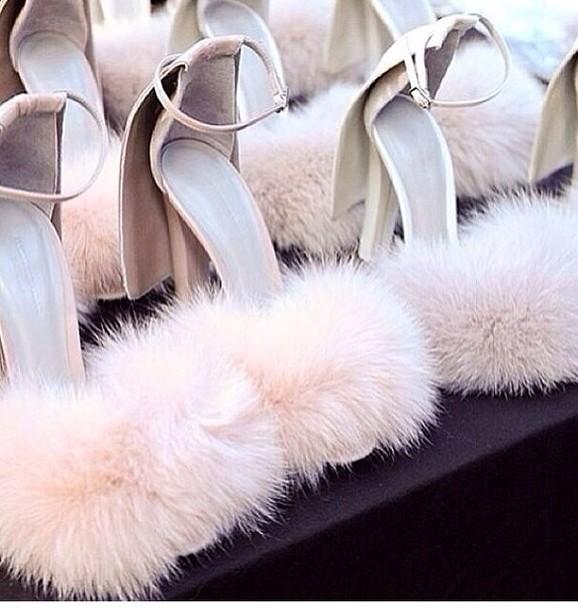 shoes white high heels nude high heels fluffy pumps heels fur heels alexander wang high heel sandals blush pink pretty fluffy heels babygirl asf tumblr aesthetic