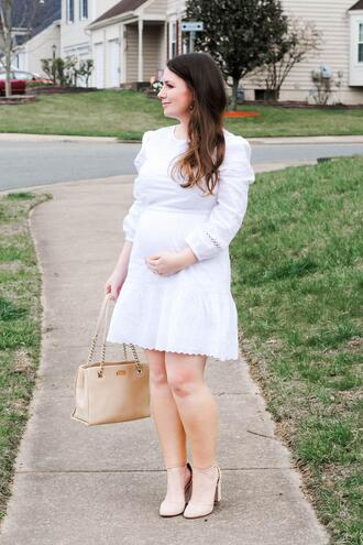currentlycoveting blogger dress jewels shoes bag white dress maternity dress pumps spring outfits