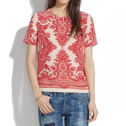 Silk Tee in Paisley Loop
