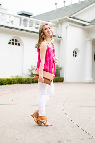 a lonestar state of southern blogger jewels shoes bag white jeans pink top statement necklace clutch chunky sole