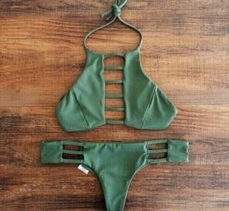 swimwear bathing suit top and bottom green strappy bikini bikini bottoms bikini top army green cut-out summer bathing suit top bathing suit bottoms boho bohemian