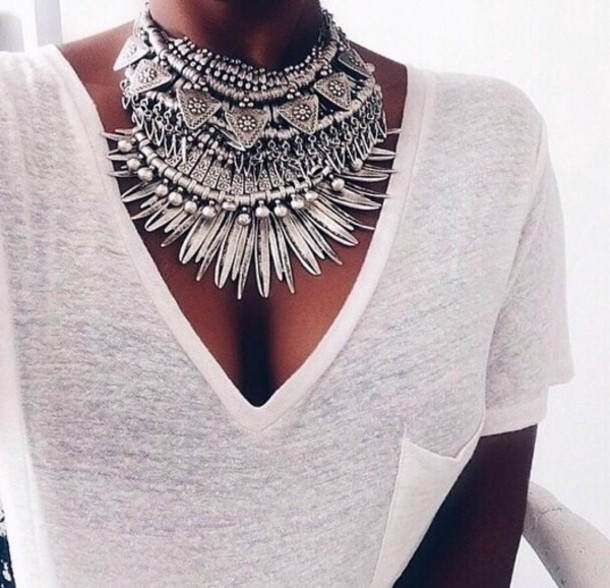 jewels boho chic t-shirt party t-shirt dress casual school girl necklace silver necklace sliver necklace necklace collar tribal necklace argent grey jewerly necklace gris colliers argent collier big necklace bling silver
