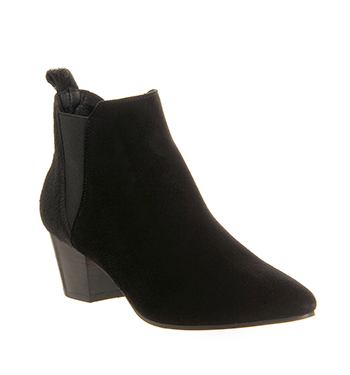 Office Coolcat Almond Toe Mod Chelsea Black Pony Effect Suede - Ankle Boots
